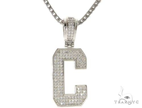 CZ Silver Initial(C) Pendant 24 Inches Franco Chain Set 58471 Metal