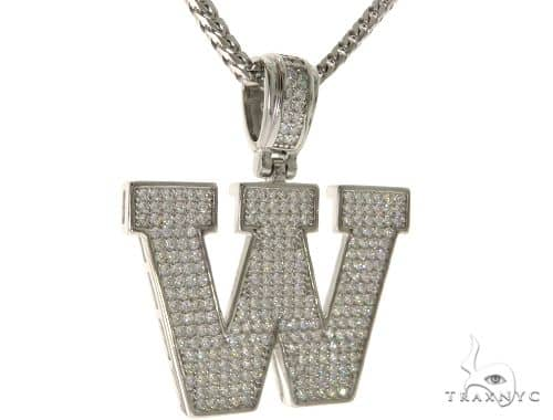 CZ Silver Initial(W) Pendant 24 Inches Franco Chain Set 58491 Metal