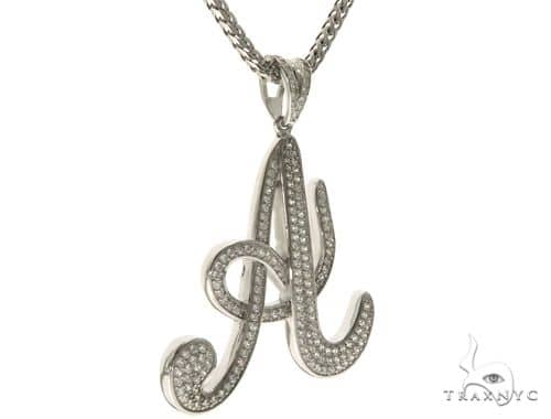 CZ Silver Initial(A) Pendant 30 Inches Franco Chain Set 58497 Metal