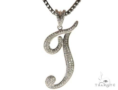 CZ Silver Initial(T) Pendant 30 Inches Franco Chain Set 58516 Metal