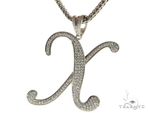 CZ Silver Initial(X) Pendant 30 Inches Franco Chain Set 58520 Metal