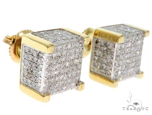 10K YG Invisible Diamond Dice Earrings 58563 Stone