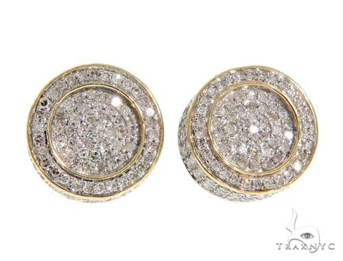 10K YG Micro Pave Diamond Round Earrings 58565 Stone