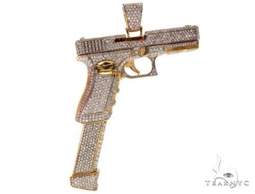 Custom Made 14K Yellow Gold Prong Diamond Gun Pendant Metal