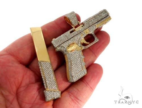 Custom made 14k yellow gold prong diamond gun pendant mens metal mens diamond jewelry mens pendants metal custom made 14k yellow gold prong diamond gun pendant aloadofball