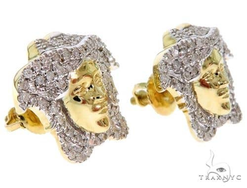 10K Yellow Gold Micro Pave Diamond Medusa Earrings Stone