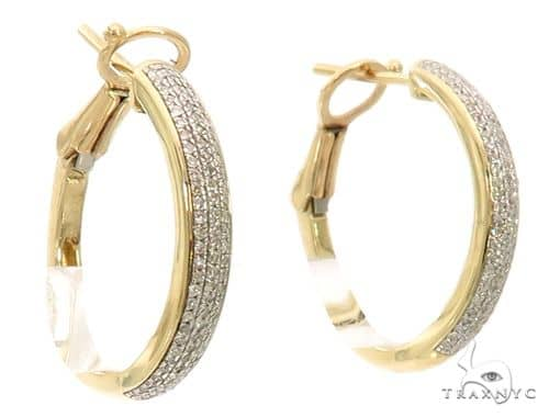 10K YG Micro Pave Diamond Hoop Earrings 58582 10k, 14k, 18k Gold Earrings