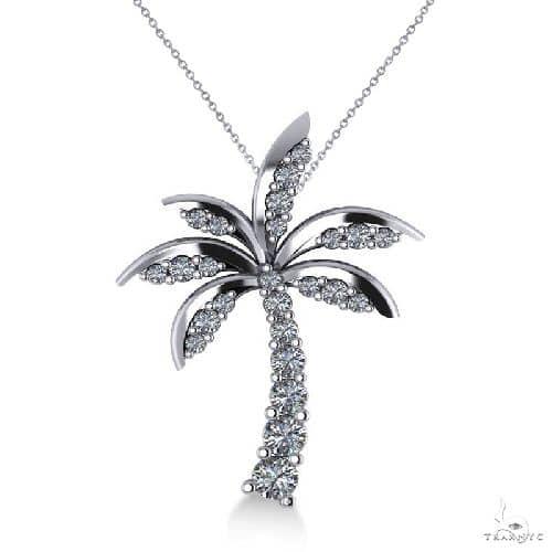 Diamond tropical palm tree pendant necklace 14k white gold 2 stone womens jewelry unique pendants stone diamond tropical palm tree pendant necklace 14k white gold aloadofball Images