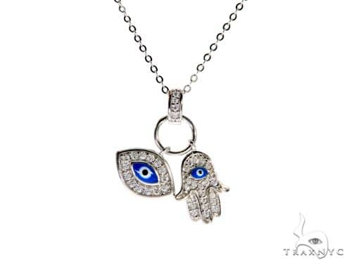 .925 Sterling Silver Hamsa Hand Evil Eye Charm 18' - 20' inches Re-sizable Cable Link Chain Set Metal