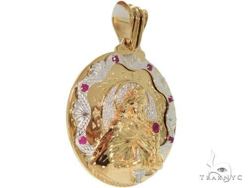 14K Two Tone Gold Round Cut Pave Diamond Santa Barbara Pendant 61404 Metal