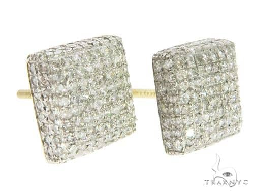 10K Yellow Gold Micro Pave Diamond Stud Earrings 61441 Stone