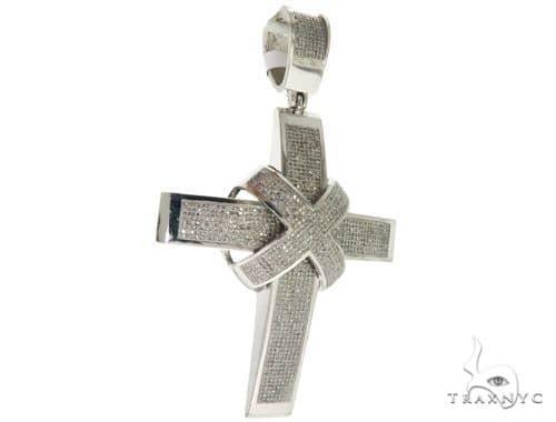 10K White Gold Micro Pave Diamond Cross 61476 Diamond