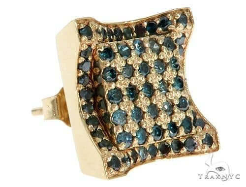 14K Yellow Gold Blue Diamonds Small Single Square Earring 61482 Stone