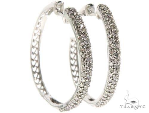 14K White Gold Prong Diamond Hoop Earrings 61501 10k, 14k, 18k Gold Earrings