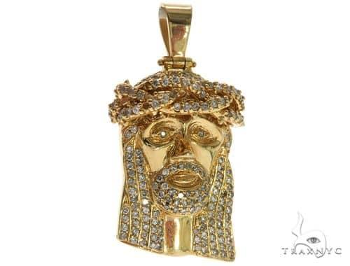 14K Yellow Gold Prong Diamond Jesus Pendant 61569 Metal