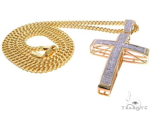 Junior Cross and 24 Inches 10K Gold Franco Link Chain Set 61571 Style