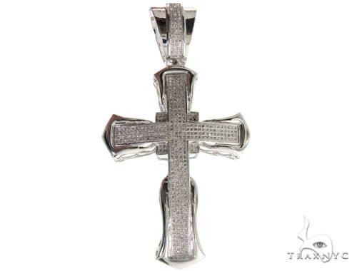 10K White Gold Micro Pave Diamond Cross 61626 Diamond