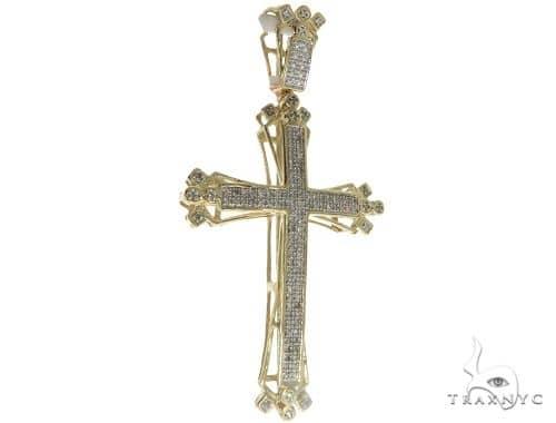 10K Yellow Gold Micro Pave Diamond Cross 61638 Diamond