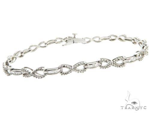 10K White Gold Prong Channel Diamond Bracelet 61791 Diamond