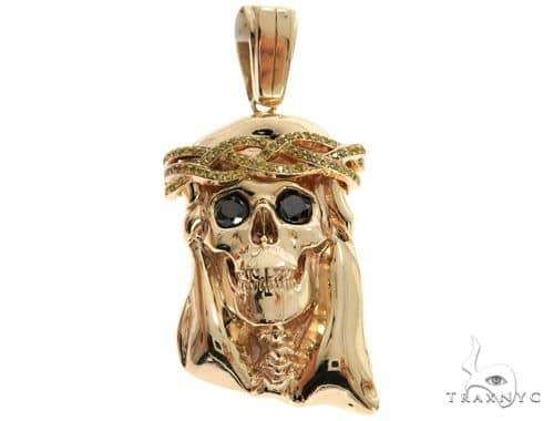 14K Prong Bezel Diamond Skull Pendant 61795 Metal