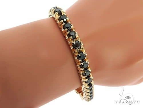 14K Yellow Gold Black Diamond Bracelet Mens Diamond Yellow
