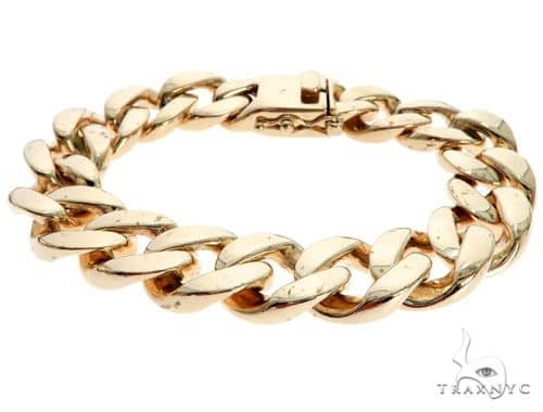 14K Yellow Gold Cuban Link Bracelet 7.5 Inches 14mm 92.0 Grams 62467 Gold
