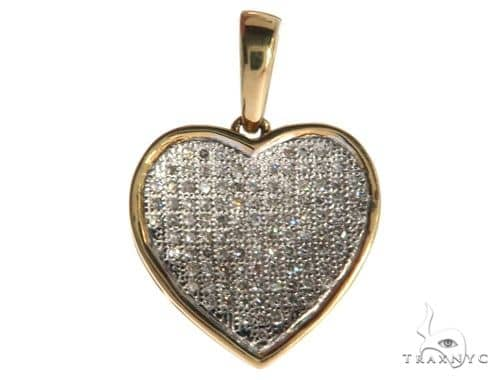 14K Yellow Gold Micro Pave Diamond Heart Charm Pendant 62556 Stone