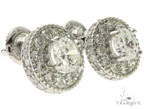 14K White Gold Prong Micro Pave Diamond Solitaire Stud Earrings 62563 62564 Stone