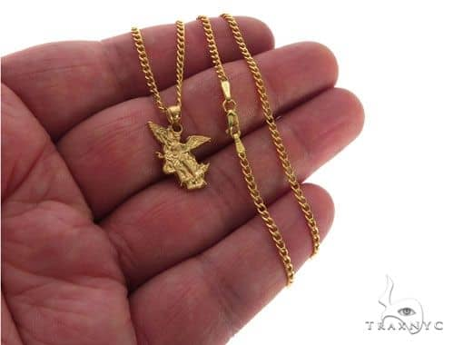 10k yellow gold saint st michael charm 24 inches cuban link chain mens diamond jewelry mens pendants style 10k yellow gold saint st michael charm 24 inches cuban link chain set 62574 aloadofball Images