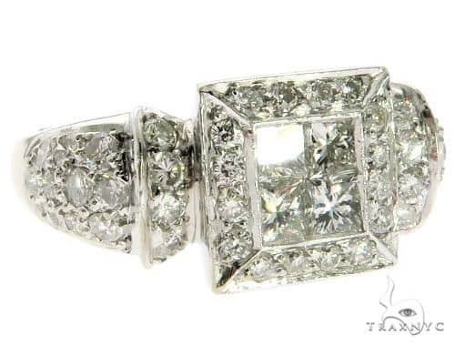 18K White Gold Invisible Prong Diamond Square Head Ring 62576 Anniversary/Fashion
