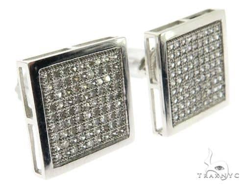 14K White Gold Micro Pave Diamond Square Stud Earings 62579 Stone