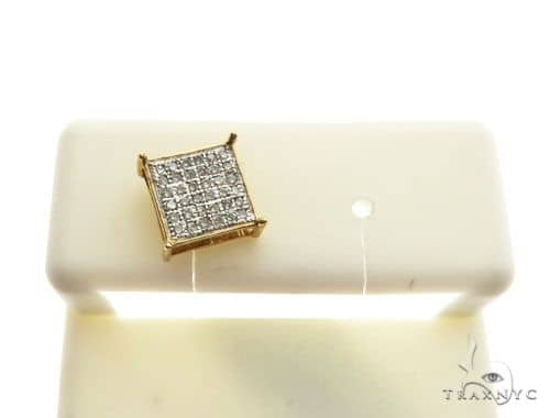 14K Yellow Gold Micro Pave Diamond Stud Single Earring 62615 Stone