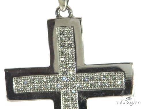 14K White Gold Micro Pave Diamond Cross Pendant 62618 Diamond