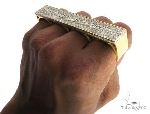 14K Yellow Gold Prong Diamond Four Finger Ring Hip Hop Style