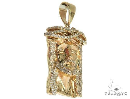14K Yellow Gold Prong Diamond Jesus Piece 63093 Metal