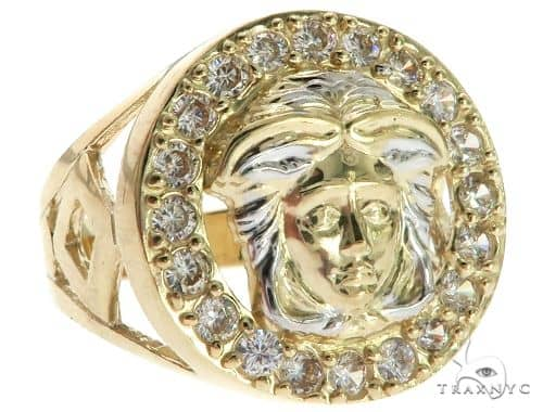CZ 10K Two Tone Gold Medusa Ring 63114 Metal