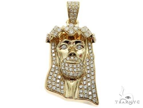 14K Yellow Gold Prong Diamond Jesus Pendant 63123 Metal