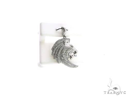 14K White Gold Micro Pave Diamond Lion Pendant 63128 Stone