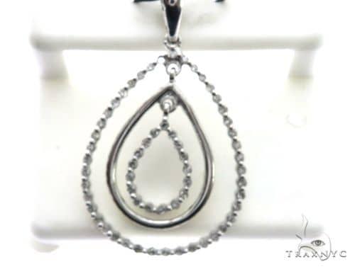 14K White Gold Micro Pave Diamond Stud Pendant 63146 Stone