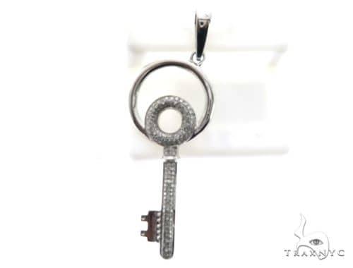 14K White Gold Micro Pave DIamond Stud Key Pendant 63147 Stone