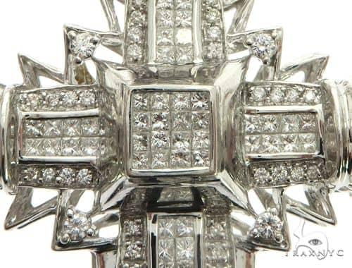 14K White Gold Invisible Channel Prong Diamond Cross 63172 Diamond