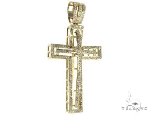 10K Yellow Gold Micro Pave Diamond Cross 63184 Diamond