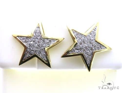 10K Yellow Gold Micro Pave Diamond Star Stud Earrings 63188 Stone