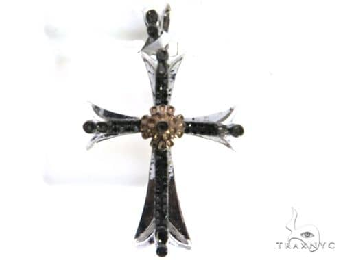 10K White Gold Micro Pave Diamond Cross Pendant. 63195 Metal