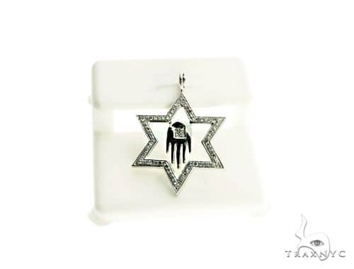 10K White Gold Micro Pave Star Diamond Stud Pendant 63210 Metal