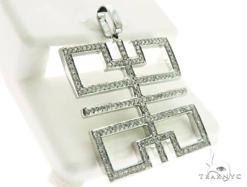 10K White Gold Micro Pave Diamond Stud Pendant 63213 Metal
