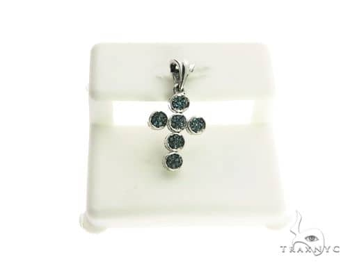 14K White Gold Micro Pave Diamond Cross Pendant 63219 Metal