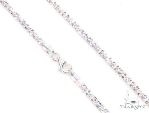 White Silver Glitter Chain 24 Inches, 3mm, 10.5 Grams 63267 Silver