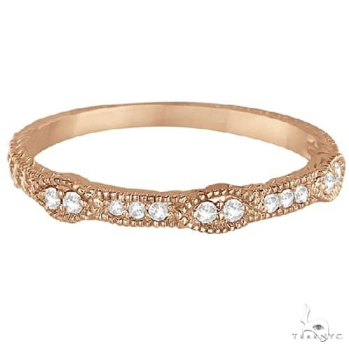 Pave Set Vintage Stacking Diamond Ring Band 14k Rose Gold 2