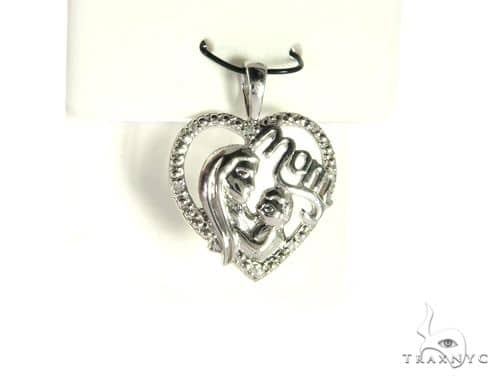14K White Gold Micro Pave Heart Pendant. 63280 Metal